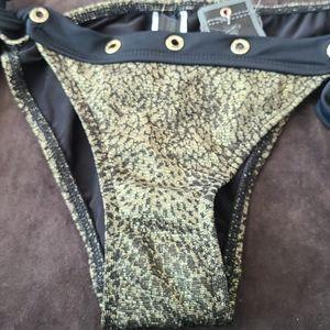 Women's True Religion Bikini Bottoms Gold Black L